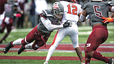Virginia Union University's Xzavier Hines catapults in to sack Lincoln University quarterback Trae Greene in last Saturday's homecoming game. The Panthers sacked the Lincoln quarterback nine times during their 32-0 victory.