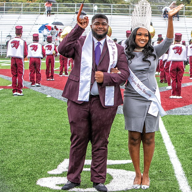 Rain couldn't dampen the excitement of students, alumni and supporters who attended Virginia Union University's return home at Willie Lanier Field in Hovey Stadium on the Lombardy Street campus last Saturday.  Mr. and Miss VUU 2021-22 Kirk Jones and Eboné Giles wave to the crowd during their halftime performance.