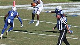 Virginia Union University wide receiver Larry Hackey goes high for a reception during last Saturday's game against Chowan University in Murfreesboro, N.C.