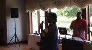 Eula Anderson Smith, daughter of Vance Heath, welcomes guests at her father's 100th birthday celebration held Saturday at Joliet Country Club.