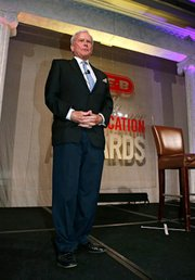 Keynote speaker and NBC broadcast journalist Tom Brokaw addresses the H-E-B Excellence in Education Awards at the Grand Sonesta Hotel in Houston, Texas.