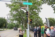 A portion of Richards Street was renamed for Bishop J.E. Moore, who's celebrating his 50th anniversary at Christ Temple Church in Joliet.