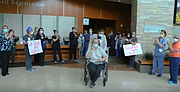 Halina Zabinsky received cheers from the staff of Silver Cross Hospital when she was released from the hospital this week. She was the first COVID-19 patient at Silver Cross Hospital five weeks ago.