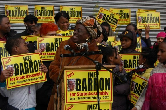 """Gov. Andrew Cuomo has no regard for Black or Latino people,"" charged Council Member Inez Barron, as she held a ..."